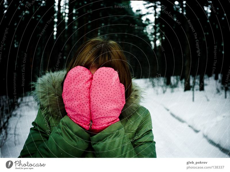 snow Winter Pink amid forest russia clothes hair hands