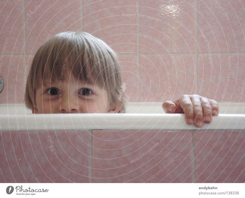 Child Water Boy (child) Playing Blonde Pink Wet Bathroom Clean Swimming & Bathing Joie de vivre (Vitality) Tile Hide Toddler Bathtub Foam