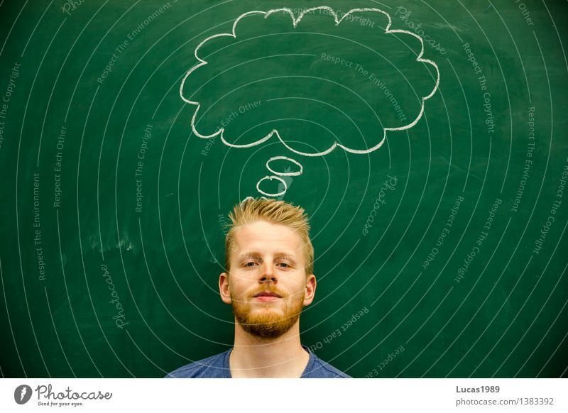 thoughtful young man thought bubble Education Science & Research Adult Education School Study Classroom Blackboard Teacher Professional training