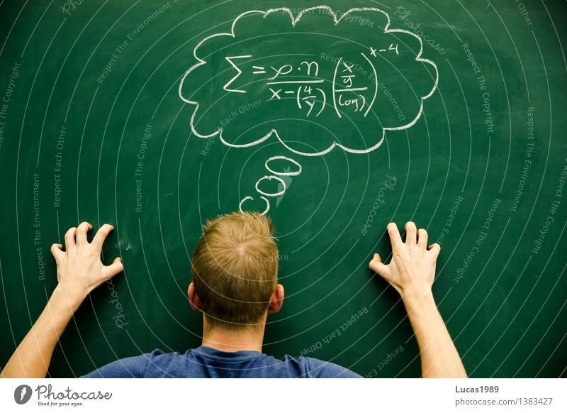 Student or pupil tries to solve difficult formula Education Science & Research School Study Classroom Blackboard schuler Teacher Professional training