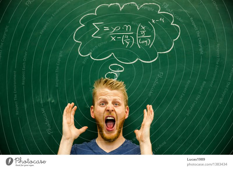 young man screams, desperate about formula mathematics physics Education Science & Research Adult Education School Study Classroom Blackboard schuler Teacher