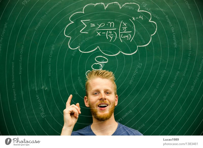 Man has an idea, difficult mathematical formula, solution, solution Education Adult Education School Study Classroom Blackboard schuler Teacher