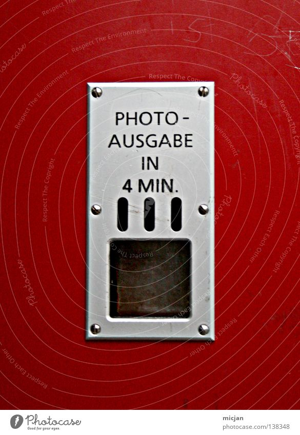 HH08.1 - The action, wait and then ... Metal Plastic Sign Characters Signs and labeling Wait Red Silver Transience Time Photography 4 Metal fitting Typography