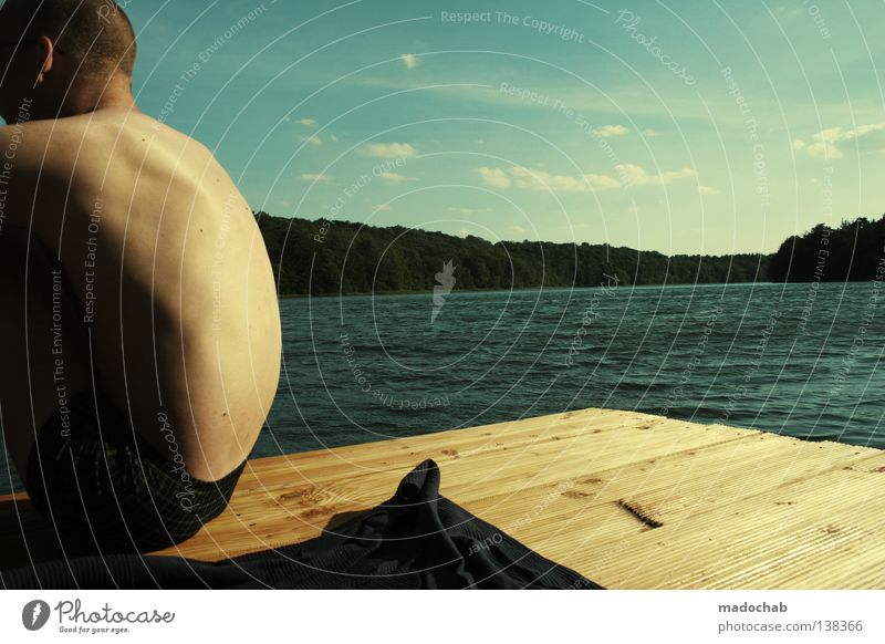 Endless Summer Man Human being Lake Body of water Relaxation Wanderlust Longing Emotions Restorative Wellness Moody Positive Masculine Calm Youth (Young adults)