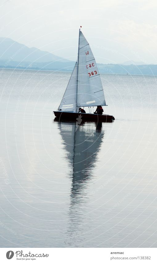 sail away Watercraft Sailing Driving Clouds Human being Vacation & Travel Horizon Lake Reflection Sailing ship Summer Sport boats Lake Chiemsee Sports Playing