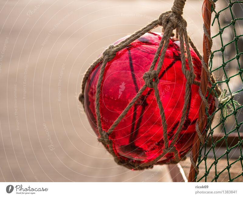 Colour Red Business Decoration Rope Net Tradition Sphere Navigation Fishery Maritime Glass ball