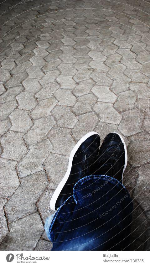 Street Lanes & trails Lie Footwear Sit Walking Transport Wait Individual Circle Break To fall Jeans Sidewalk Pants Concepts &  Topics