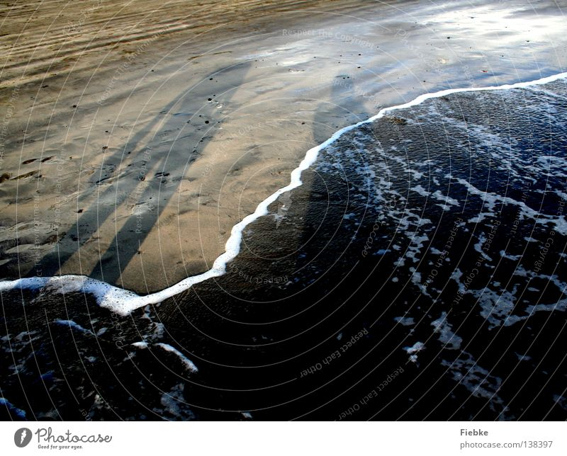 Evening beach walk Beach Ocean Grain of sand Waves Foam Sea water Walk on the beach Footwear Vacation & Travel Summer Relaxation Sunset Low tide Tide Footprint
