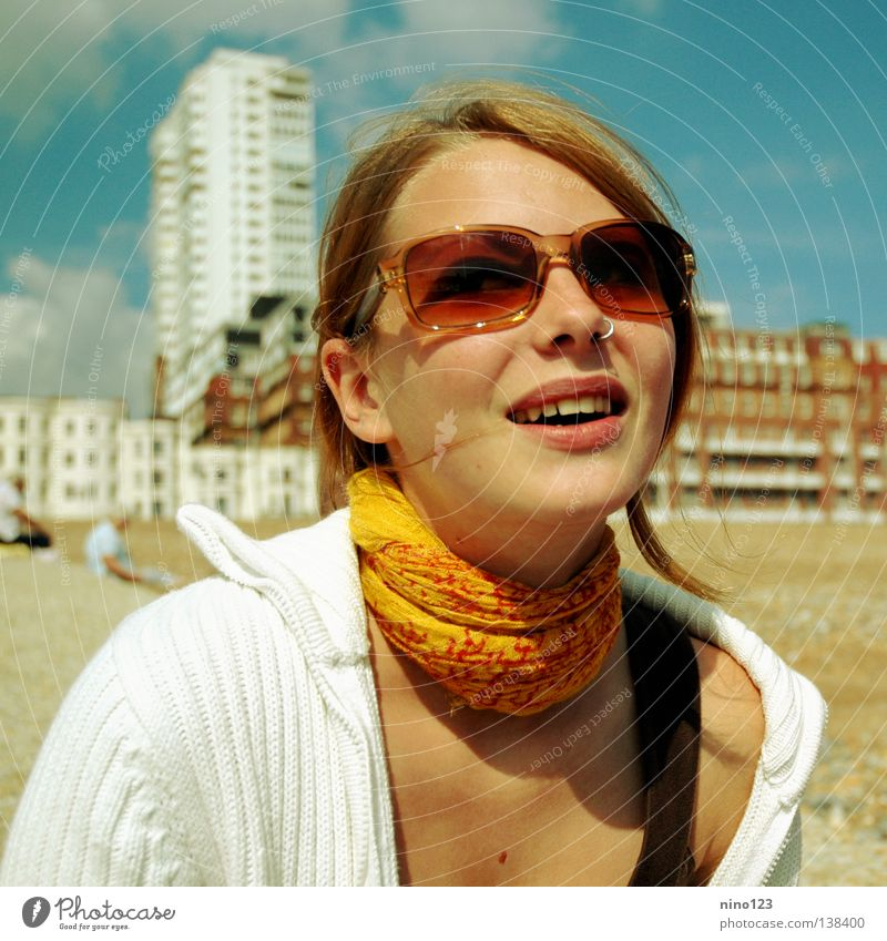 Woman Beautiful Joy Beach Yellow Laughter Moody Orange Eyeglasses Switzerland England Sixties Brighton