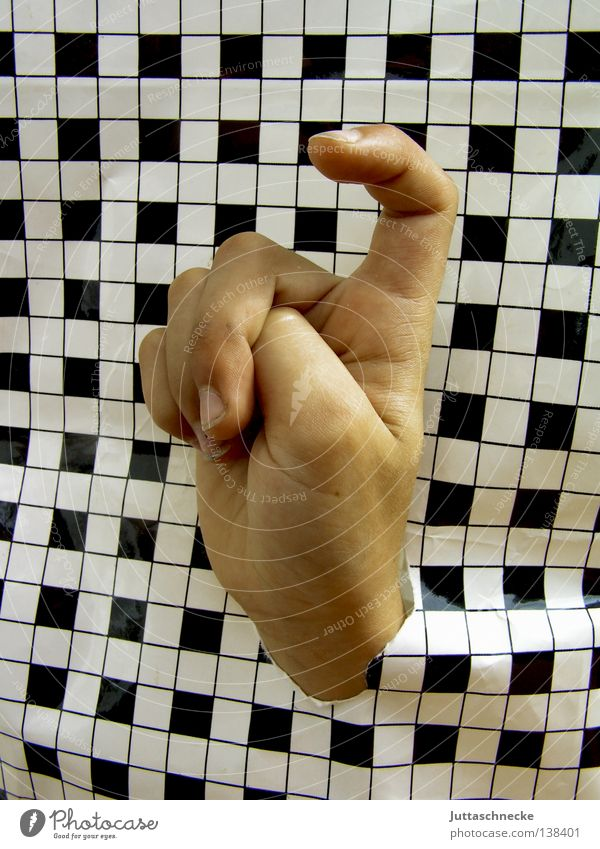 Please, Mrs. Teacher, I know what... Hand Fingers Puzzle Remark Desire Hello Checkered Black White Bend Curved Communicate Craft (trade) point pepita
