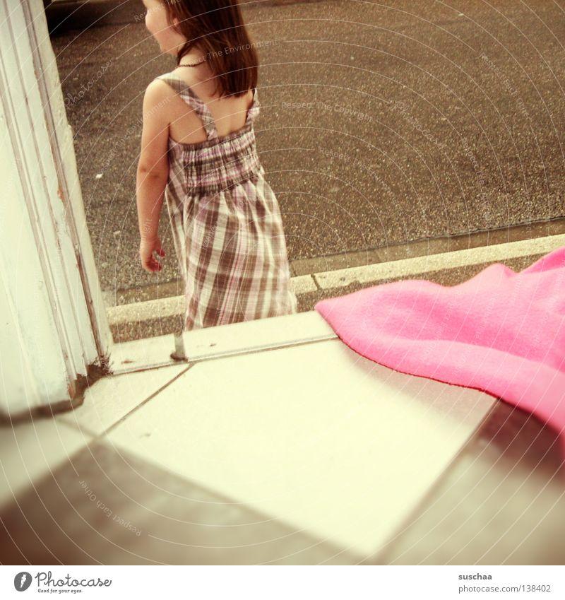 Child Girl Street Pink Transport Dangerous Floor covering Threat Dress Tile Sidewalk Entrance Traffic infrastructure Blanket Flow Curbside