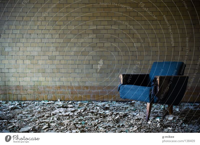 waiting to die Calm Chair Room Ruin Wall (barrier) Wall (building) Creepy Broken Grief Death Loneliness Distress Peace Transience Timeless Derelict quiet lonely