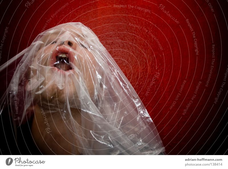 danger of suffocation Air Breathe Breathlessness Asphyxiate Dangerous Threat Red Packing film Covers (Construction) Transparent Man Scream Silent Revenge