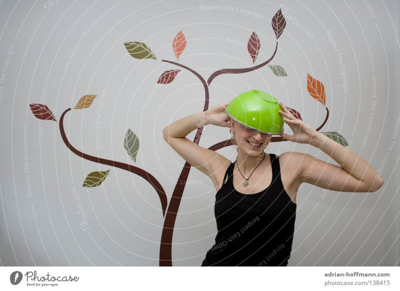 Woman White Tree Green Summer Joy Wall (building) Laughter Funny Fresh Kitchen Hat Cap Bowl Humor Helmet