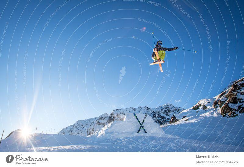 Sky Nature Sun Joy Winter Mountain Environment Snow Sports Happy Flying Rock Ice Beautiful weather Adventure Peak