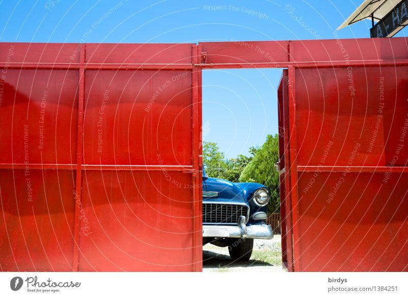 Vacation & Travel Blue Red Style Lifestyle Car Door Open Esthetic Wait Joie de vivre (Vitality) Retro Beautiful weather Cool (slang) Discover Wanderlust