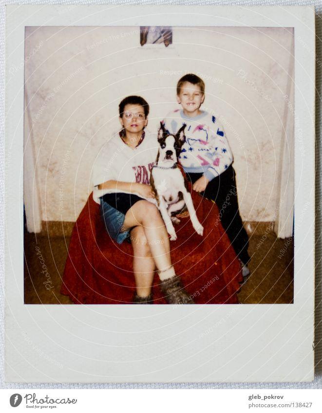 Polaroid part III Portrait photograph Human being Retro Joy Woman dog home boy dreams russia full lengh 6x6 Wall (barrier)