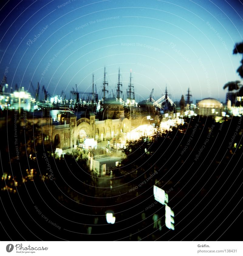 Sky Tree Night Street Lamp Mountain Watercraft Holga Lighting Feasts & Celebrations Art Port of Hamburg Vantage point Long exposure Harbour