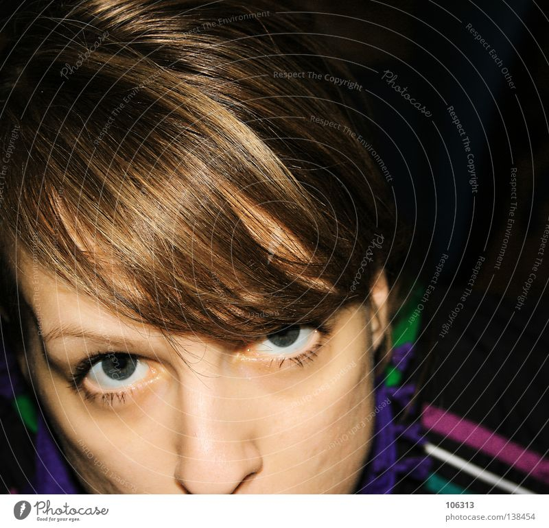 Woman Face Eyes Hair and hairstyles Nose Stripe Striped Caught by a speed camera