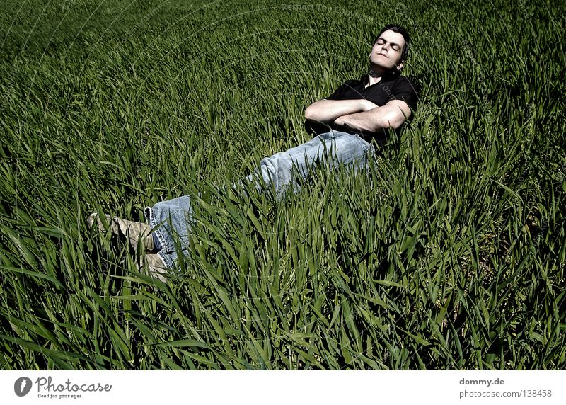 chillout Man Fellow Grass Field Summer Relaxation Pants Shirt Dark Green Sleep Sunbathing Air Fresh Untouched Jeans Bright Face skin Nature