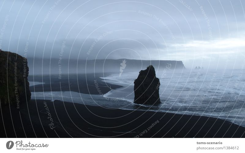 Dark Encounter Nature Landscape Sand Water Weather Fog Waves Coast Bay Ocean North Atlantic Island Iceland Movement Loneliness Horizon Vacation & Travel Change
