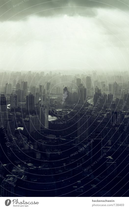 City Loneliness Clouds Dark Gray Small Lighting Glass Success Concrete High-rise Bridge Gloomy River Skyline China