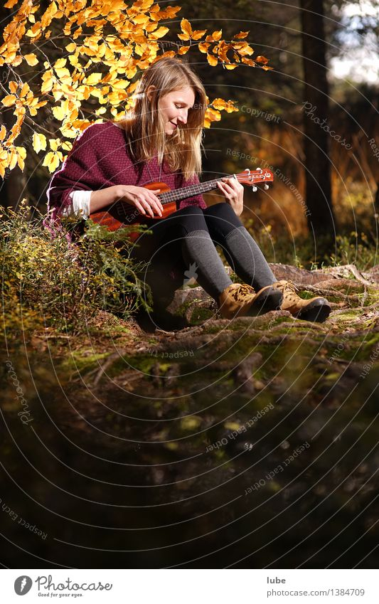 Youth (Young adults) Young woman Relaxation Calm Forest Autumn Emotions Happy Moody Contentment Music Sit Joie de vivre (Vitality) Romance Well-being Harmonious