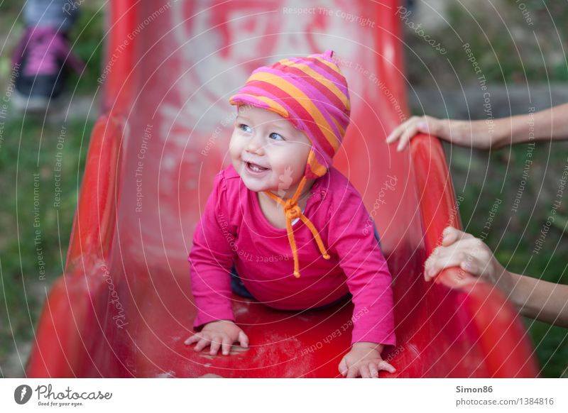 Red slide Human being Feminine Child Toddler Girl Infancy Life 1 0 - 12 months Baby Aggression Happiness Positive Emotions Moody Joy Happy Contentment