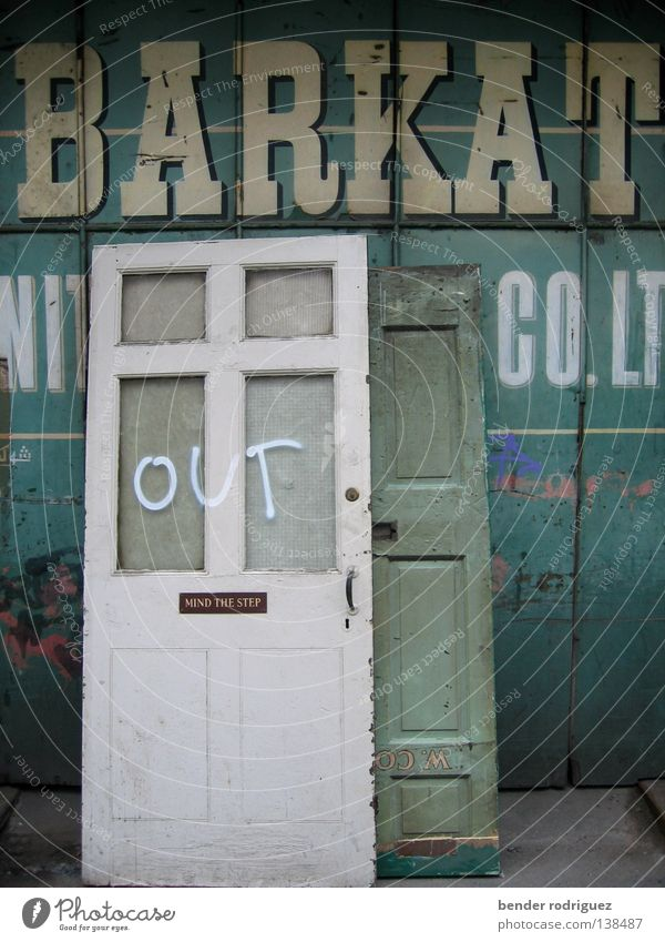 Out of Manchester Turquoise Exterior shot Derelict Door out barque Moving (to change residence) Loneliness