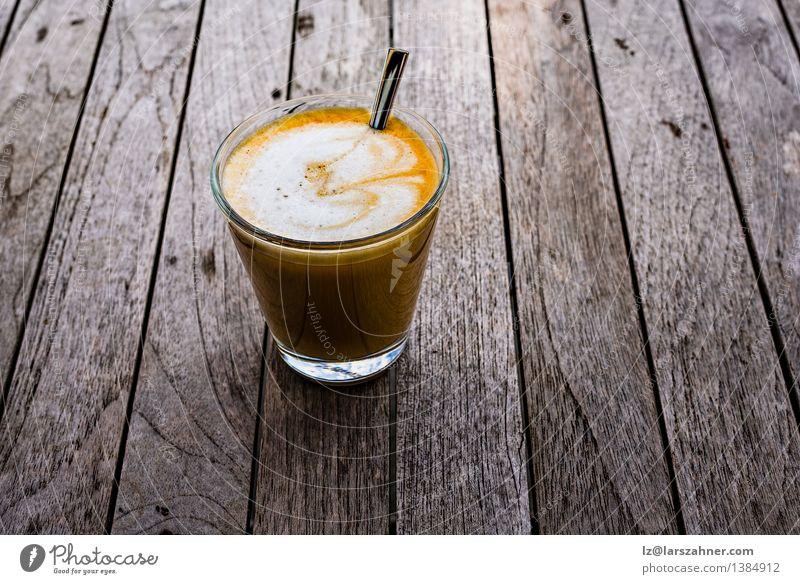 Freshly prepared spanish cortado Breakfast Beverage Coffee Spoon Table Dark Hot Brown Black Food Aromatic background Café Caffeine cup drink foam front glass