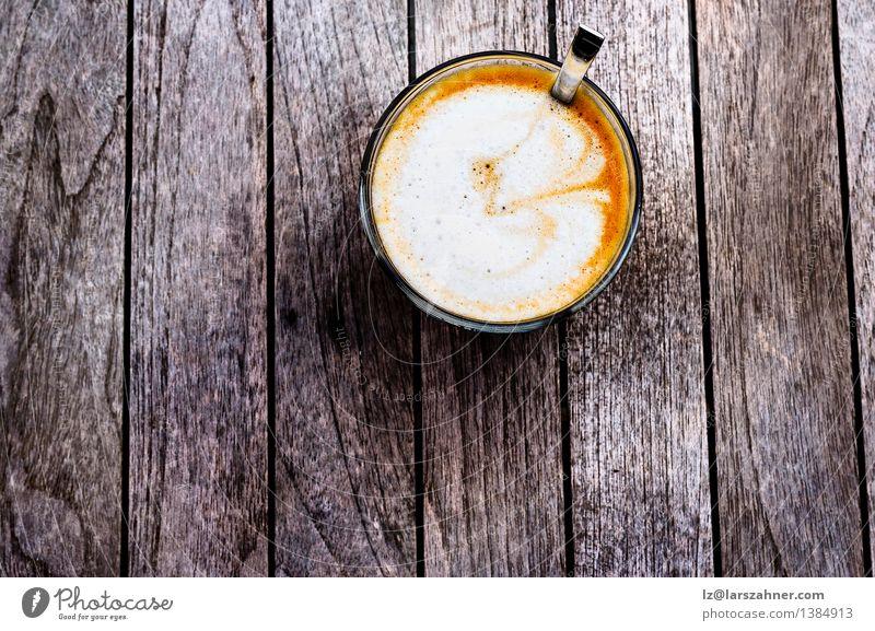Freshly prepared spanish cortado Dark Black Brown Vantage point Table Beverage Coffee Hot Breakfast Café Top Aromatic Spoon Rustic Caffeine