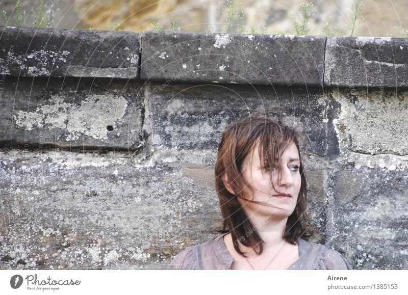 0815 AST | not quite so good Human being Feminine Woman Adults Head Hair and hairstyles Face Wall (barrier) Wall (building) Stone Observe Think Dark Curiosity