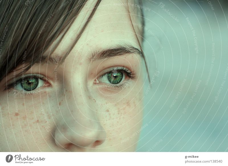 the beauty of it Face Calm Woman Adults Concentrate Portrait photograph Looking Partially visible Section of image Detail Detail of face Women's eyes