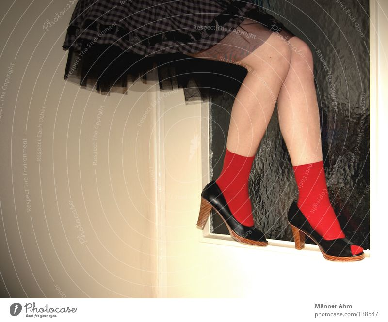 Balancing act. Footwear Dress Stockings Tip of the toe Doorframe Woman Knee Contentment Balance Clothing Tulle Red Flat (apartment)