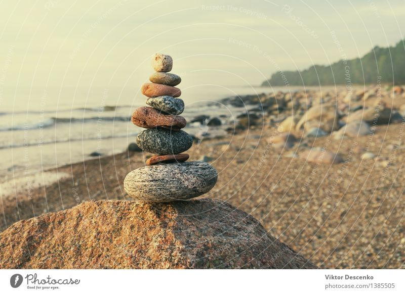 Stable pyramid of several stones Happy Harmonious Relaxation Spa Tourism Summer Beach Ocean Group Nature Sand Sky Horizon Forest Coast Baltic Sea Stone Small