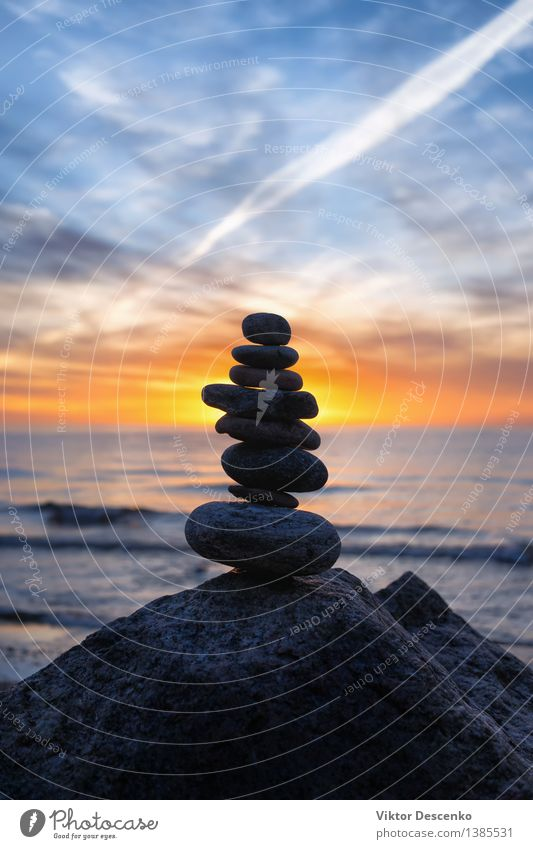 Stable pyramid of several stones Sky Nature Vacation & Travel Summer White Sun Ocean Landscape Beach Coast Stone Baltic Sea Symbols and metaphors