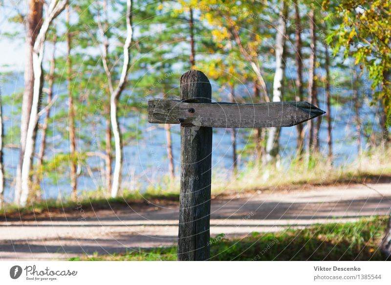 Old wooden signpost at a rural road Vacation & Travel Mail Nature Landscape Sky Park Baltic Sea Transport Street Lanes & trails Signage Warning sign Retro Blue