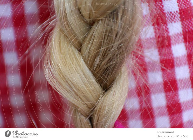 Flow it, show it, long as God can grow it Braids Hair and hairstyles Hairdresser Checkered Blouse Red White Blonde Plaited Integration Strand of hair