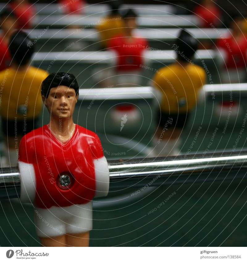 summer fairy tale revisited? Table soccer Jersey Classification Playing field Rod Colour photo Shallow depth of field Cross-head screw Screwed on tight Red