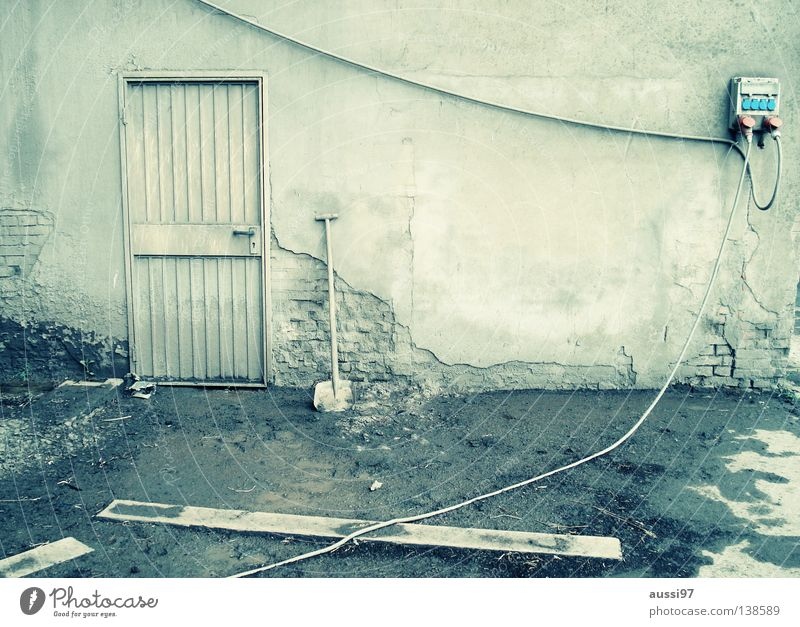 Take 5 House (Residential Structure) Barricaded Industrial zone Green Factory hall Workshop Closed Entrance Urinate Shovel Break Industry house wall Loneliness