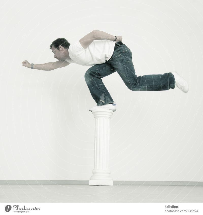 1600 Man Pedestal Monument Sculpture Statue Souvenir Memory Superman Lifestyle Fist Full-length Deities Exhibition Brave Humor White Prop Hover Forwards
