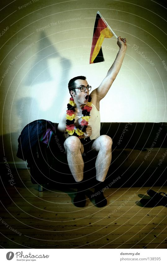 Man Joy Party Funny Feasts & Celebrations Germany Dirty Sit Soccer Europe Eyeglasses Flag Switzerland Sofa Shirt Gate