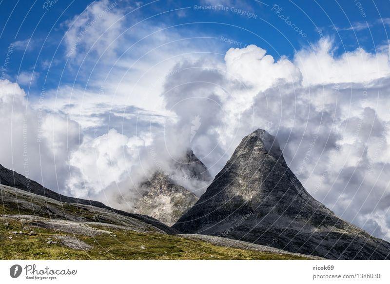 mountains Relaxation Vacation & Travel Mountain Nature Landscape Clouds Rock Peak Idyll Tourism Norway Møre og Romsdal destination Sky voyage Scandinavia