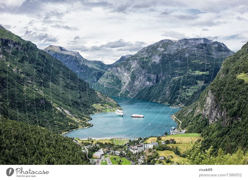 View of the Geirangerfjord Relaxation Vacation & Travel Mountain Nature Landscape Water Clouds Fjord Idyll Tourism Norway cruise liners Møre og Romsdal