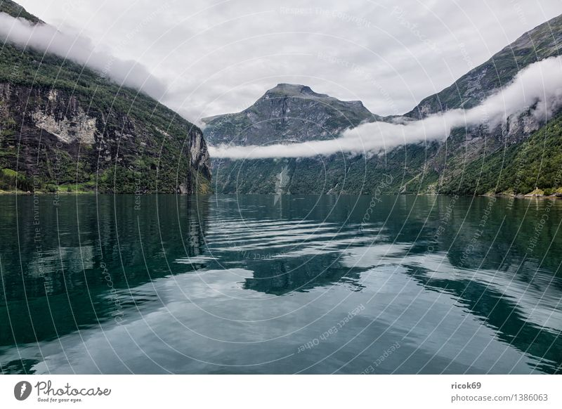 View of the Geirangerfjord Relaxation Vacation & Travel Mountain Nature Landscape Water Clouds Fog Fjord Idyll Tourism Norway Møre og Romsdal destination Sky