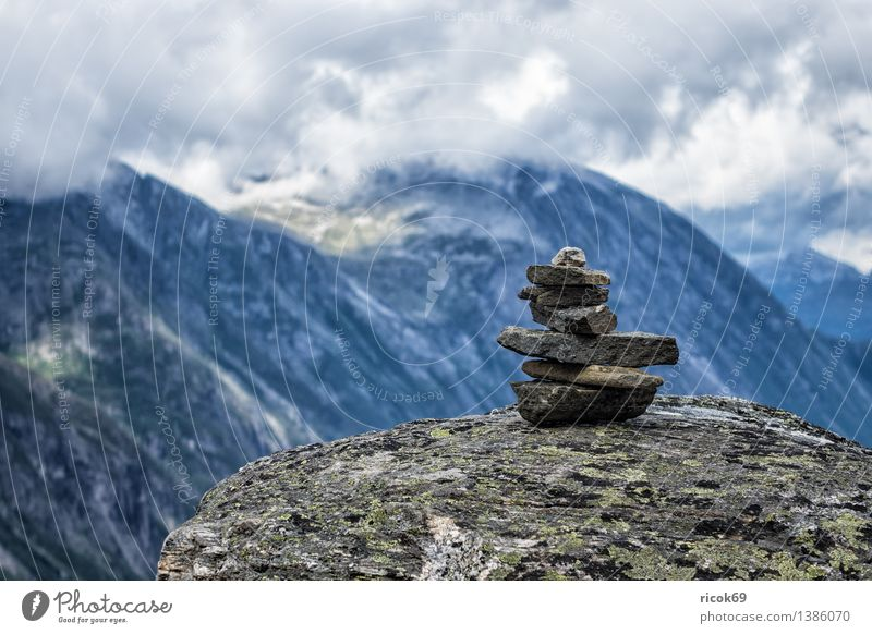 Mountains in Norway Relaxation Vacation & Travel Nature Landscape Clouds Rock Peak Stone Idyll Tourism Stack Møre og Romsdal destination Sky voyage Scandinavia