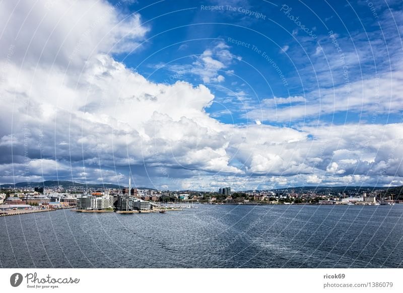 View of Oslo Relaxation Vacation & Travel House (Residential Structure) Nature Landscape Water Clouds Coast Fjord Ocean Town Capital city Manmade structures