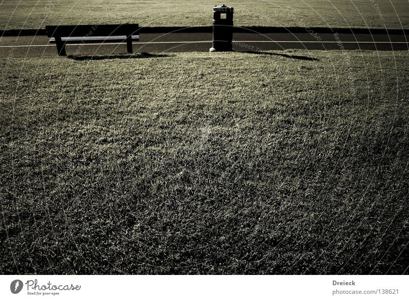 resting place Green Grass Plant Meadow Blade of grass Environment Cold Seasons Seating Break Gray Dark Park Trash container Wooden bench Park bench Earth Sand