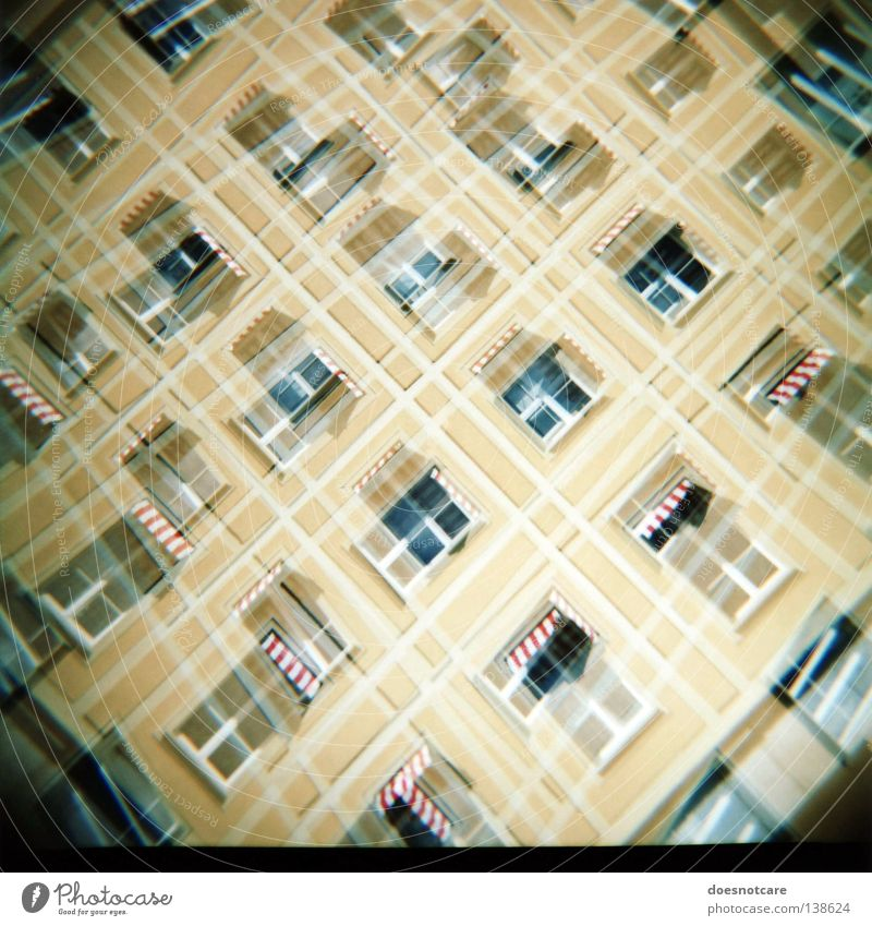 Criss-Cross. House (Residential Structure) Building Architecture Facade Yellow Glazed facade Medium format Italy Double exposure Sun blind Lomography