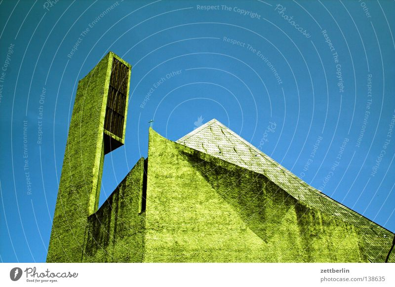 Sky Blue Berlin Mountain Religion and faith Concrete Modern Bell Sky blue House of worship Church spire New building Bell tower